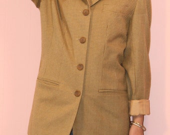 Tweed Jacket/ Yellow Blazer/ Voices-1980s/ Size 8