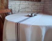 Gray Striped Grain Sack Style Burlap Table Runner 12 x 72