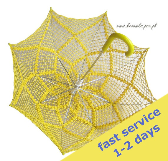 Sale 10 BUCKS OFF, Sunny Yellow crochet parasol, for modern lady or young sexy girl, photo session accesory, READY to Ship
