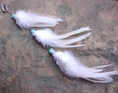 Snow white turquoise howlite feather hair extension MADE TO ORDER
