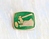 I'm A Lumberjack and i'm OK - Woodcutter Logger Badge - Green on Brass pin Brooch