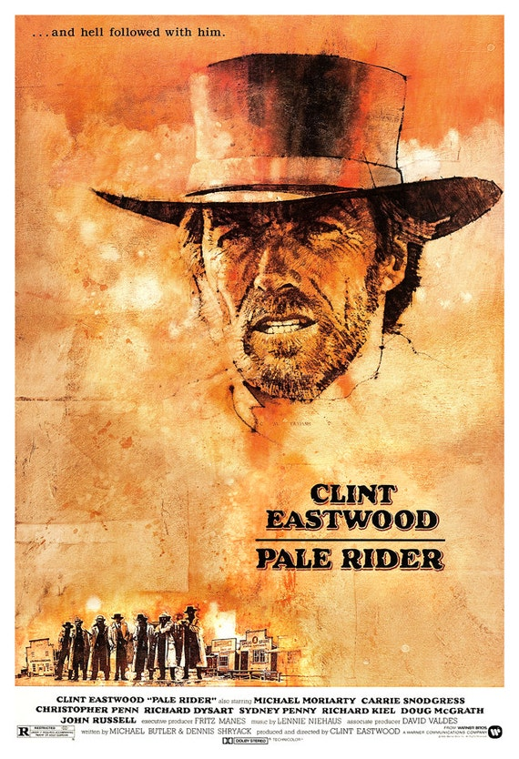Clint Eastwood - Pale Rider - Home Theater Decor - Classic Western Movie Poster Print  13x19 - Old Movie Poster - Cowboy Western