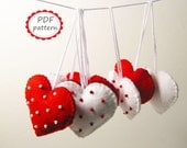 PDF PATTERN: Felt Heart ornaments with Polka Dot pattern - Red White - DIY decors sewing tutorial - Christmas Valentine Wedding decoration