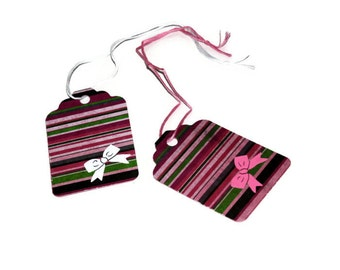 CLEARANCE - Striped tags - set of 10 (T8)