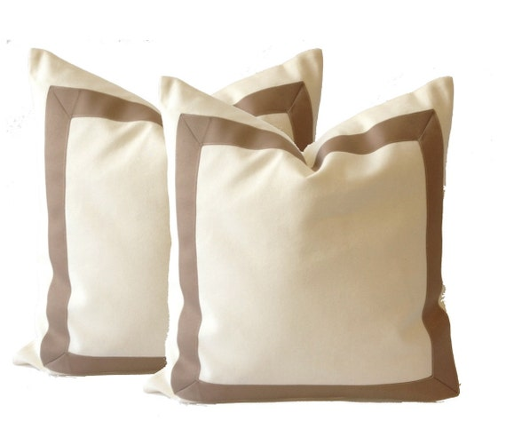 White Cotton Canvas Decorative Throw Pillow Cover with Taupe Grosgrain Ribbon Border - Cushion Covers