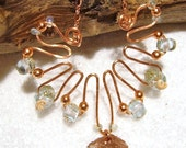 Necklace - Hammered Copper Wire - Lampwork Beads (Sea Anemone)
