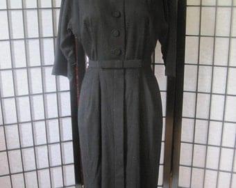 Vintage Dress Black Wool 1950s 1960s Frock by Tailortown 25 Inch Waist 36 Bust Bow Belt Rockabilly Rockabella Party M L New Look
