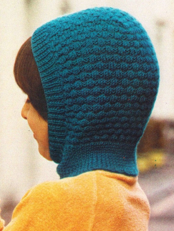 Free Knitting Patterns Kids Balaclava : Instant Download PDF Vintage Seventies Quick by ...