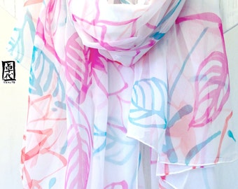 Silk Bridal Scarf, Hand Painted Silk, ETSY, Travel Scarf Gift, Japanese Floral Scarf, Pink, Turquoise, Red, Silk Chiffon, Takuyo, 43x72 inch