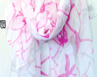 Sarong Scarf, Silk Summer Scarf, Sarong Wrap, Silk Sarong, Hand Painted Pink and gray Kimono Floral, Chiffon Scarf.  43x72  in.