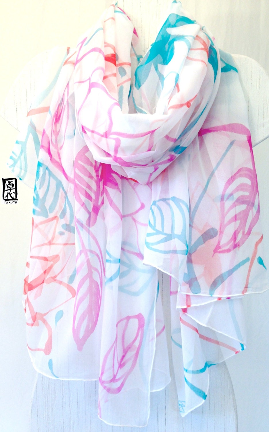 Silk bridal scarf hand painted silk etsy travel scarf gift for Travel scarf