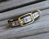 Metal Buckle Dog Collar, Plaid Dog Collar in Preppy print