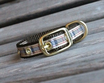 Metal Buckle Dog Collar, Plaid Dog Collar in Preppy print