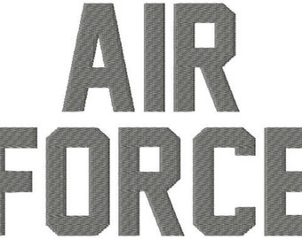 "Air Force - Machine Embroidery Font - Sizes 1"",2"",3"",4"" BUY 2 get 1 FREE"