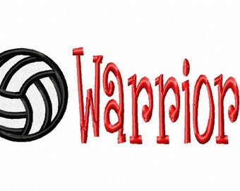 Volleyball - Warriors - Machine Embroidery Design - 9 Sizes
