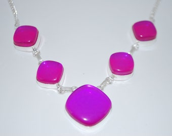 Pink Aqua Mystic gemstone crystal necklace with healing properties