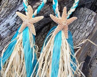 Small Starfish and Raffia Decoration, Beach Wedding Decor, Starfish Chair Hanger, Choose your Ribbon, Destination Wedding, Luau