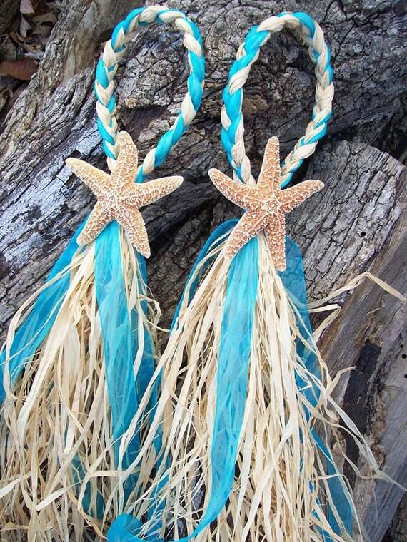 small starfish and raffia decoration wedding decor