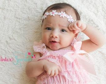 20% off entire order...Pink daisy headband, baby headbands, newborn headbands, infant, toddler, adult