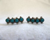 Vintage 1950's Genuine Turquoise Sterling Silver Screwback Earrings