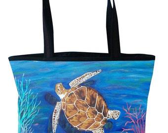 Loggerhead Sea Turtle Large Handbag Tote Bag by Salvador Kitti -  Support Wildlife Conservation, Read How