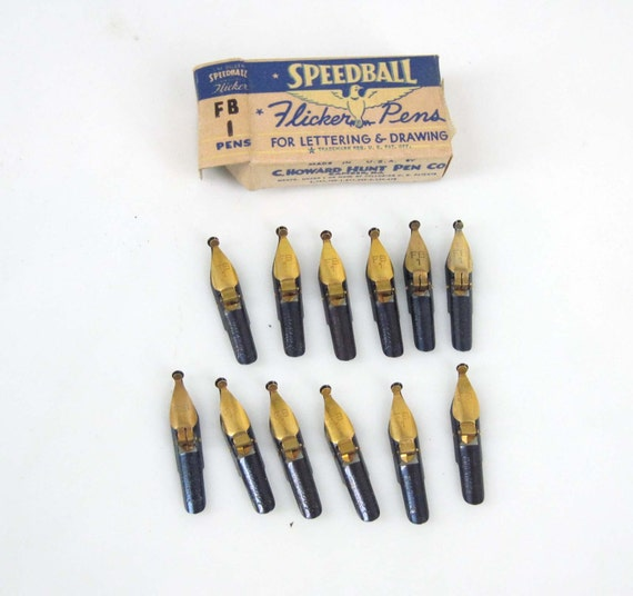 Speedball pen nibs flicker pens size fb1 vintage full box of Speedball calligraphy nibs