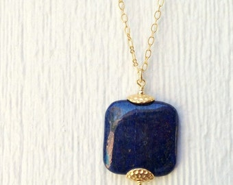 Lapis Necklace -  Navy Blue Jewelry - Lapis Lazuli Gemstone - Gold Jewellery - Chain - Pendant