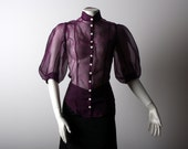 Iridescent Purple Silk Organza Shirt with Pleated Sleeves