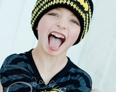 Superhero Stripe Beanie Everyday Hat - Black Yellow Red Crochet Warm Soft Beanie Photo Prop - READY TO SHIP