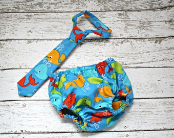 Diaper Cover and Tie Set Newborn Photo Prop Baby Boy Little Man Red Orange Green Whales on Blue Ocean Nautical