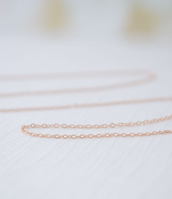 Rose Gold Filled Plain Necklace - finished rose gold necklace - rose gold filled chain - 1138