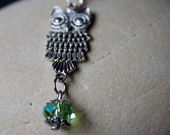 Owl Charm Lanyard, iphone, Purse Charm, Zip Pull, Tibetan silver and Green Quartz, Christmas Gift