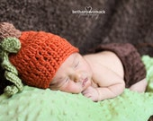 Baby Pumpkin Crochet Hat/Beanie - sizes newborn through 12mos