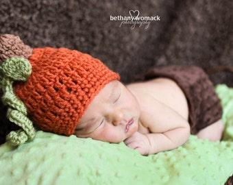 Baby Pumpkin Crochet Hat/Beanie - sizes newborn through 12mos