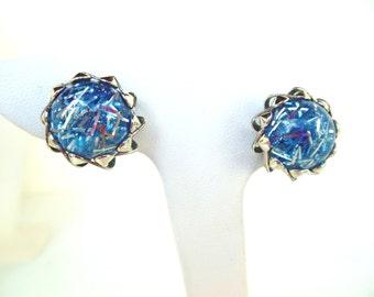 Vintage Lucite Clip Earrings Confetti Blue Silver  60's (item 13)