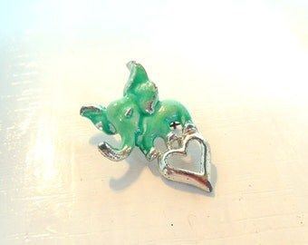 Vintage Brooch Elephant Heart Green Silver 70's (item 168)