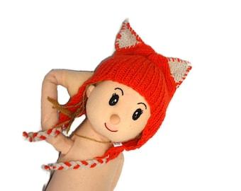 Wool hat, Girls,Boys Cat Hat, Toddler Cat hat, Cinnamon Kids Cat Hat, baby girl cat hat, hand knitted Kitty Cat Eared Children Hat,