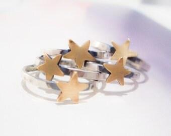 Gold Star Ring // Sterling Silver & Brass
