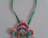 Cute Ice Skating Raccoon Cross Stitch Christmas Ornament