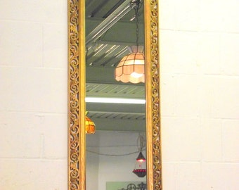 HUGE Hollywood Regency Full Length Gold Mirror - Leaning - Wall or Mantle Ornate Syroco