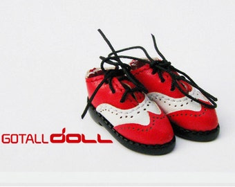 20% OFF - GOTALL doll handmade Two-tone Vintage Shoes for Blythe doll - doll shoes - Red & White