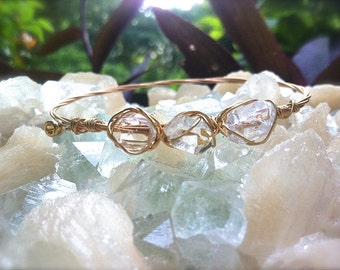 HERKIMER Diamond Guitar String Bangle- Eco-Friendly Bracelet, Recycled Materials, Energizing Adornment