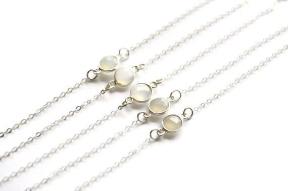 White Onyx Bracelets | Bridesmaids Set of 5 | Sterling Silver | Bezel Gemstone Bracelets | Dainty Chain | Simple Modern Wedding