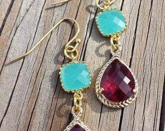 Raspberry Turquoise Faceted Earrings