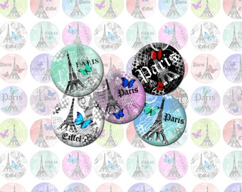 Eiffel Tower Paris Printable 1-Inch Circles / Bottlecap Images / Digital Collage / French, Vintage Eiffel, Butterflies / Instant download