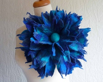 felted flower corsage pin brooch, handmade, felted wool flower, lagenlook, handmade, shawl pin, blue, turquoise, teal, MADE TO ORDER