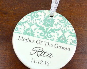 Mother of the Groom Ornament - Wedding Favor Anniversary Keepsake - Damask - Custom Personalized Porcelain Holiday Gift - orn300 - Peachwik