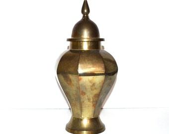 Vintage Brass Ginger Jar Chinoiserie Hollywood Regency Ginger Jar With Lid Mid Century Modern Ginger Jar