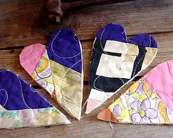 Quilted Heart Appliques, Large Silk Shabby Primitive Patchwork Quilted Embellishments Upcycled Vintage Old Quilt Craft Supply itsyourcountry