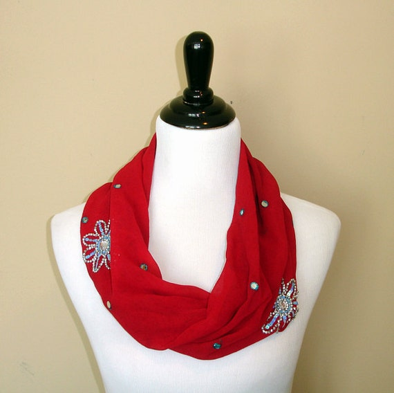 Red Upcycled Sari Scarf Indian Saree Infinity Scarf Eternity